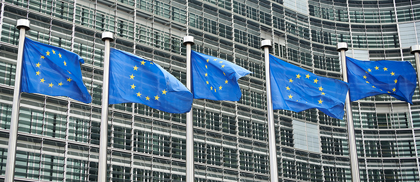 European Union flags in front of European Commission