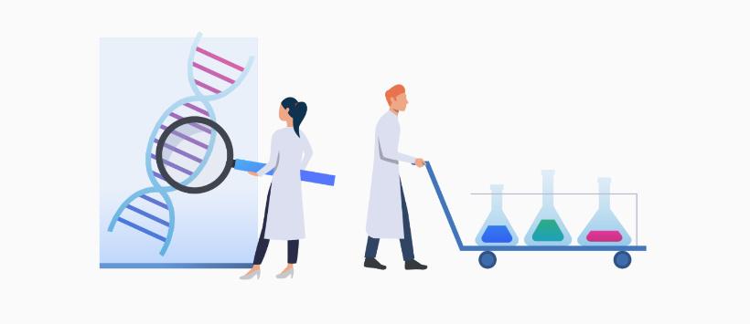 Naukowcy pracują w nowoczesnym laboratorium (grafika)